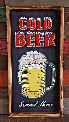 Cold Beer Served Here Frosty Mug Rustic Sign, Bar Garage Man Cave Pub Decor