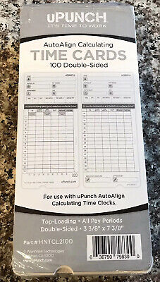 Upunch Time Cards For Hn4000 Time Clock 100pack Hntcl2100