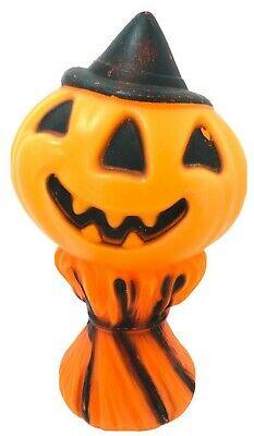"VTG Plastic Pumpkin Jack O Lantern Blow Mold Hay Stack Scarecrow 14"" NO LIGHT"
