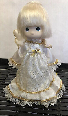 "Precious Moments Blonde Angel Christmas Tree Topper 9"" Gold White Lace Dress"