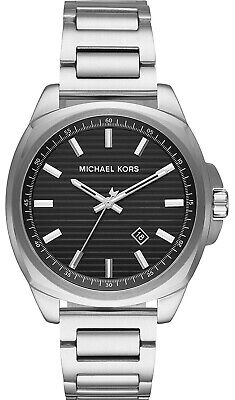 Michael Kors Bryson MK8633 Stainless Steel Silver Tone Black Dial 42mm Watch