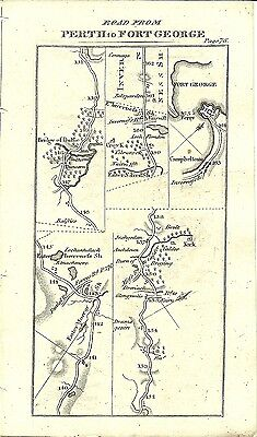 Antique map, Perth to Fort George (3) / Perth to Brechine (1)