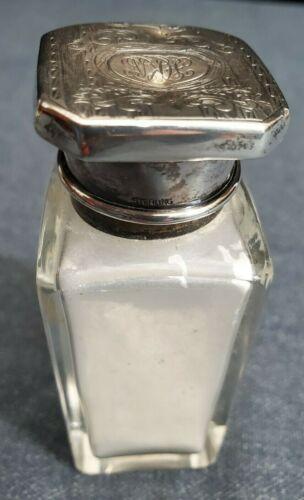 ANTIQUE STERLING MOUNTED GLASS TALCUM BOTTLE w ORNATE STERLING LID  MONOGRAM