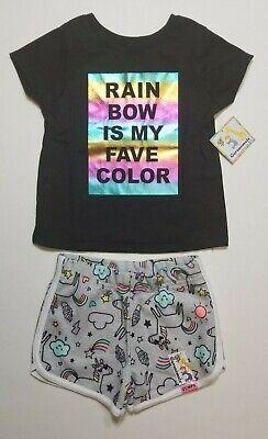 Garanimals Girl's Black Rainbow Shirt & Unicorn Shorts Set Outfit 2T or 3T NWT
