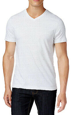 Embellished Neck Tee (New Mens Alfani V-Neck White Heathered Dotted Embellished Undershirt T Shirt Tee)