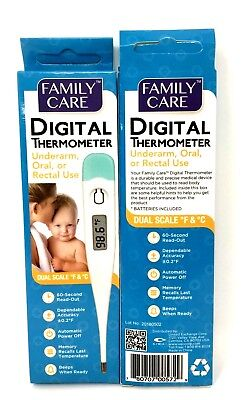 Family Care Oral, Underarm or Rectal Digital Thermometer  Pack of 2