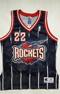 8eefa2c8116 Vintage Clyde Drexler Houston Rockets Champion Authentic Jersey Size 40