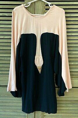 bang bang copenhagen Swan Dress 6-7 Long Sleeves Peach Pink black bangbang