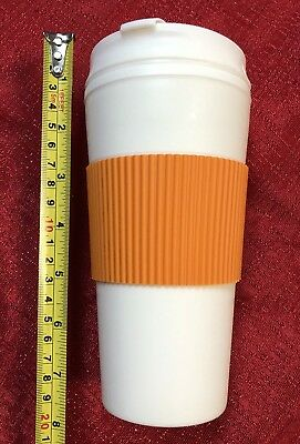 Coffee 16oz Thermal Mug Travel To Go Double Walled W/ Lid Reusable Cup ORANGE