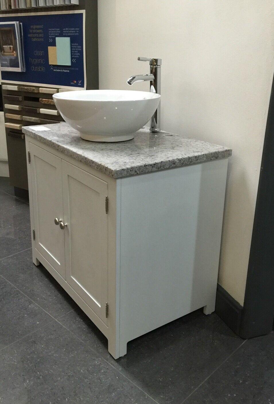Granite Top Painted Vanity Unit 800mm Wide Bathroom Washstand Cabinet Picclick Uk