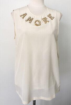 Dolce & Gabbana Women Ivory Silk Top Embellished AMORE Blouse, IT 46, L