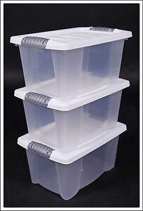 Multibox in weiß # 3 Stück # mit Deckel - Stapelbox Aufbewahrungsbox Box Boxen