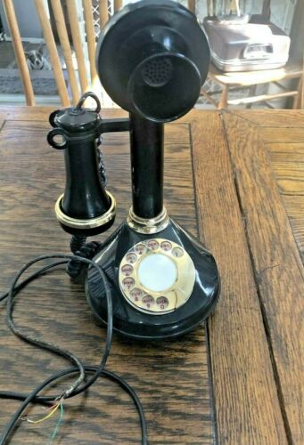 Replica Candlestick Phone Rotary Black and Gold Made in Italy 12""