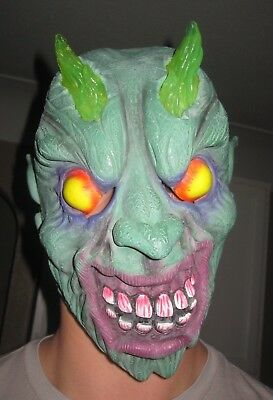 Pagan Demon Green Devil Mask with light up horns - preowned Scary Halloween  - Pagan Halloween Mask