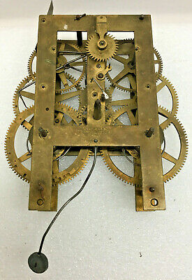 Antique J.C. Brown 30Hr Mantel Clock Movement For Parts or Repair