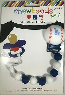 Chewbeads Baby Pacifier Clip Silicon Safe LA Dodgers Baseball. It's not Teether