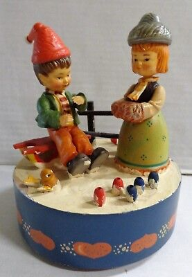 Vintage Anri Music Box Boy Girl We Wish You A Merry Christmas Italy