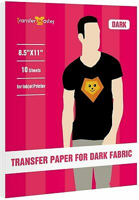 Premium 10 Sheets Dark Cotton Fabric 8.5x11 Inkjet Iron On Heat Transfer Paper