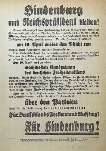 "ORIGINAL- GERMAN 1932 PRESIDENTIAL ELECTION of "" PAUL von HINDENBURG "" BROADSIDE"