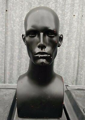 (USED) MN-AA Male Abstract Mannequin Display Head Neck Bust - BLACK