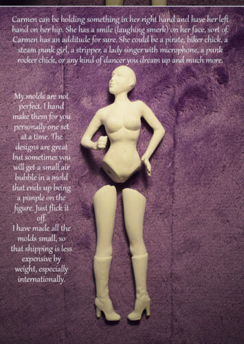 Carmen - NEW 1:12 scale lady dollhouse size mold set by designer Patricia Rose
