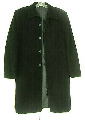ALAN ITALY - BLACK PINWHALE CORDUROY CHESTERFIELD OVERCOAT - 40 US/50 (Chesterfield Us)