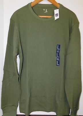 NWT GAP Men's Thermal Shirt Long Sleeve Green XS S M XL MSRP$30 Free Ship New