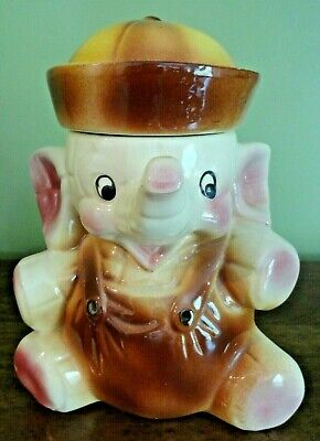 Vintage American Bisque Elephant w/Sailor Suit & Hat Cookie Jar