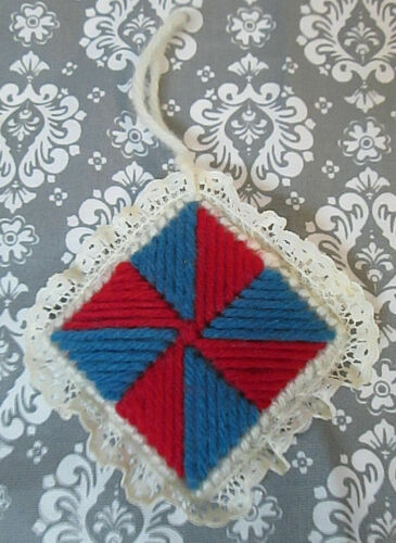Vintage Handcrafted Yarn & Lace Christmas Tree Ornament Tilted Square Red Blue
