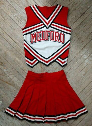 High School Varsity Cheer Red White Black REAL Cheerleading Uniform Medford OK