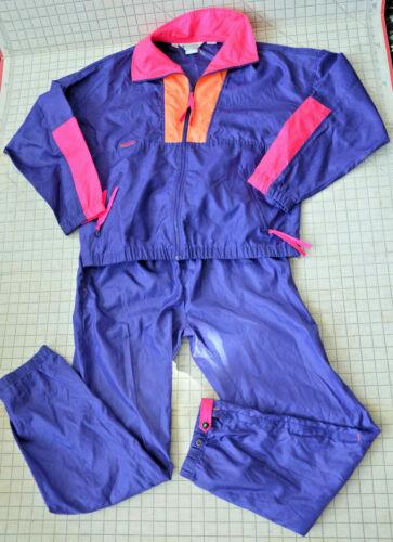 Vaporwave Neon Columbia Track Suit Womens S Pants M Top Windsuit EUC Vintage 90s