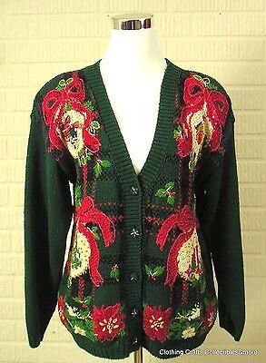 Tiara Green Ugly Christmas Sweater Sz Petite Large Big Ornaments Embellished