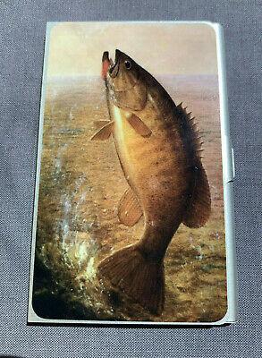 Business Card Holder Light Weight Anodized Aluminum Vintage Bass Fish