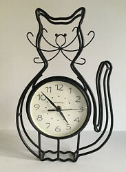 Cat Clock Wall Shelf ACURITE Battery Operated Black Wrought Iron Cat Kitty Clock
