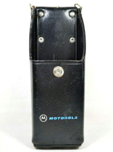 Vtg Motorola Hard Black Leather Belt Holster Part for Portable Radio