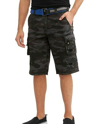 Cotton Ripstop Shorts - Cargo Shorts Black Camo Belted Ripstop 100% Cotton Lazer Co Mens Size 32-40