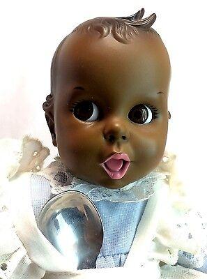 """Atlanta Novelty Vintage '79 African American Gerber Baby w/ Spoon 13"""" Vinyl Doll"""