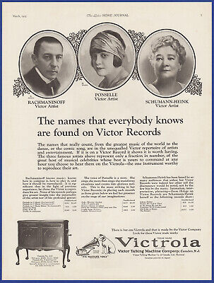 Vintage 1925 VICTROLA Victor Model 410 Phonograph Rachmaninoff 20's Print Ad