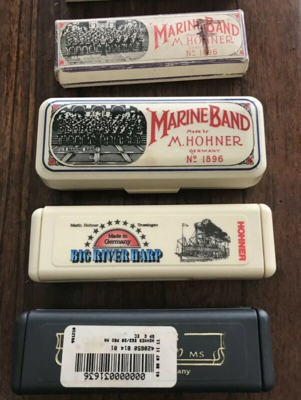 Harmonica Cases Lot of  Cases Seven M Hohner Marine Band Big River Blues Harp