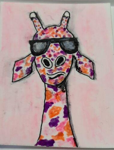 ACEO Art Card Original, Watercolor/ink Giraffe ,Signed, Outsider Art, Brut Art - $2.99