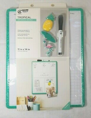Tropical Dry Erase Board - Weekly Planner - 11x14 Wmarker 3 Magnets