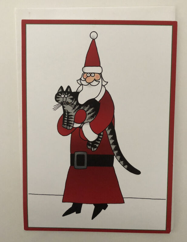 "KLIBAN KILBAN CAT CHRISTMAS CARD w/ ENVELOPES ""Seasons Greetings""  SANTA HUG"