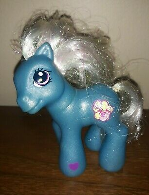 "My Little Pony Baby Bellaluna Blue Pony White Hair Baby Rattle /Bottle G3  3"""