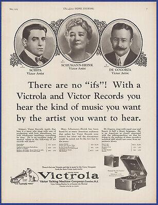 Vintage 1925 VICTROLA Model 50 Portable Phonograph Victor Artists 20's Print Ad