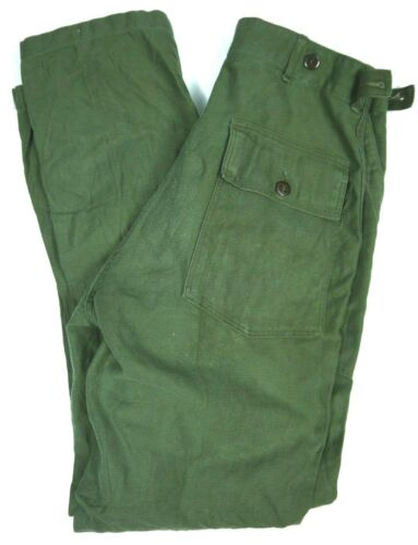 Vintage 60s Military Sateen Pants Trousers Vietnam Era OG-107 Army mens 28x32 US