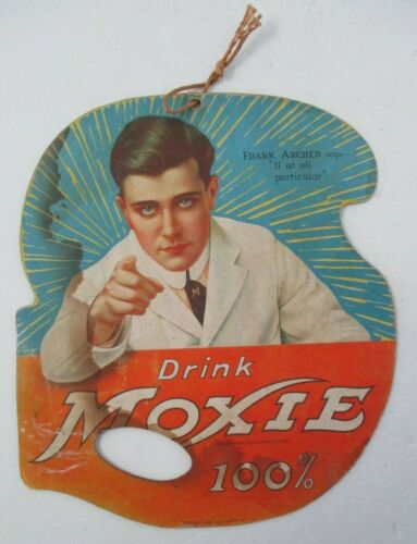 Vintage DRINK MOXIE Advertising Fan with Frank Archer, 1922-1923