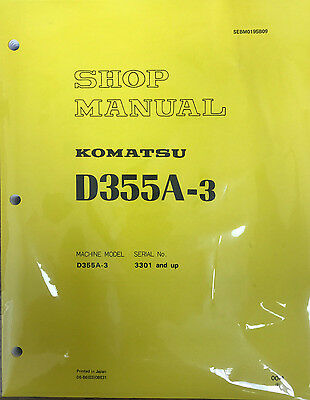 Komatsu D355a 3 Shop  Repair  Service  Manual   Bulldozer   Crawler   Bull Dozer