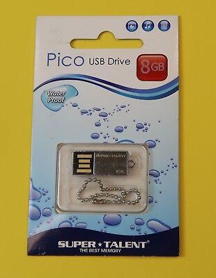 Super Talent Pico-C 8GB USB 2.0 Flash Drive STU8GPCS Water Proof BRAND NEW