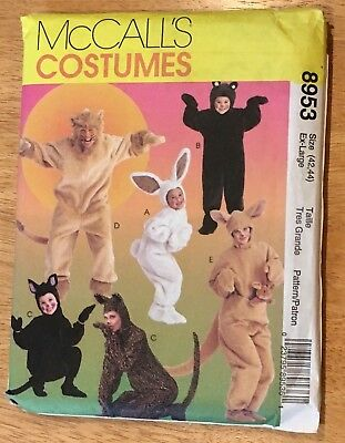 Halloween costume pattern adult XL bunny bear cat lion kangaroo McCall's 8953 - Cat Halloween Costume Pattern