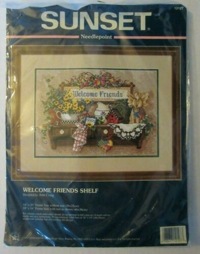 Sunset WELCOME FRIENDS SHELF Needlepoint Kit NEW SEALED #12127 1997 Dimensions